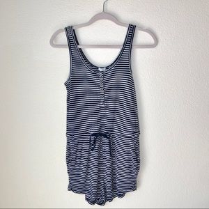 Forever21 Black & White striped draw string romper